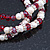 3 Strand Red Glass Bead, White Freshwater Pearl Stretch Bracelet - 19cm L - view 10