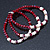 3 Strand Red Glass Bead, White Freshwater Pearl Stretch Bracelet - 19cm L - view 4