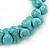 Contemporary Bone Shape Turquoise Bead Flex Bracelet - 19cm L - view 3