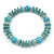 Classic Turquoise Bead With Crystal Ring Flex Bracelet - 19cm L - view 5