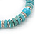 Classic Turquoise Bead With Crystal Ring Flex Bracelet - 19cm L - view 7