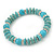 Classic Turquoise Bead With Crystal Ring Flex Bracelet - 19cm L - view 8