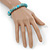 Classic Turquoise Bead With Crystal Ring Flex Bracelet - 19cm L - view 4