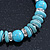 Classic Turquoise Bead With Crystal Ring Flex Bracelet - 19cm L - view 3