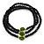 Black Glass Bead With Green Acrylic Roses Flex Bracelet/ Necklace - 52cm L