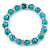 10mm Classic Turquoise Bead With Crystal Ring Flex Bracelet - 19cm L - view 2