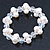 9mm White Off Round Freshwater Pearl Cluster Flex Bracelet - 17cm L - view 5