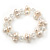 9mm White Off Round Freshwater Pearl Cluster Flex Bracelet - 17cm L - view 3