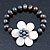 12mm Grey/ White Freshwater Pearl Flex Bracelet With A Mother Of Pearl Central Flower - 17cm L - view 8