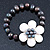 12mm Grey/ White Freshwater Pearl Flex Bracelet With A Mother Of Pearl Central Flower - 17cm L - view 6