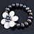 12mm Grey/ White Freshwater Pearl Flex Bracelet With A Mother Of Pearl Central Flower - 17cm L - view 9