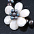 12mm Grey/ White Freshwater Pearl Flex Bracelet With A Mother Of Pearl Central Flower - 17cm L - view 3