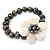 12mm Grey/ White Freshwater Pearl Flex Bracelet With A Mother Of Pearl Central Flower - 17cm L - view 10