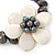 12mm Grey/ White Freshwater Pearl Flex Bracelet With A Mother Of Pearl Central Flower - 17cm L - view 11