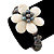 12mm Grey/ White Freshwater Pearl Flex Bracelet With A Mother Of Pearl Central Flower - 17cm L - view 5