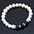 8mm - 9mm White Freshwater Pearl with Semi-Precious Black Agate Stone Stretch Bracelet - 18cm L - view 7