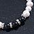8mm - 9mm White Freshwater Pearl with Semi-Precious Black Agate Stone Stretch Bracelet - 18cm L - view 9