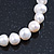 8mm - 9mm White Freshwater Pearl with Semi-Precious Black Agate Stone Stretch Bracelet - 18cm L - view 5