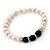 8mm - 9mm White Freshwater Pearl with Semi-Precious Black Agate Stone Stretch Bracelet - 18cm L - view 8