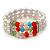 3 Row Cream Freshwater Pearl, Multicoloured Crystal Bead Flex Bracelet - 19cm L - view 7
