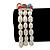 3 Row Cream Freshwater Pearl, Multicoloured Crystal Bead Flex Bracelet - 19cm L - view 8