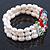 3 Row Cream Freshwater Pearl, Multicoloured Crystal Bead Flex Bracelet - 19cm L - view 5