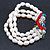 3 Row Cream Freshwater Pearl, Multicoloured Crystal Bead Flex Bracelet - 19cm L - view 9