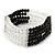 5-Strand Black/ Transparent Glass Bead Flex Bracelet With Crystal Bars - 20cm L
