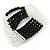 5-Strand Black/ Transparent Glass Bead Flex Bracelet With Crystal Bars - 20cm L - view 7