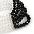 5-Strand Black/ Transparent Glass Bead Flex Bracelet With Crystal Bars - 20cm L - view 5