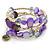 Pale purple Shell Nugget, Glass Beads Coil Flext Bracelet - Adjustable
