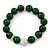 12mm Green Agate Stone With White Crystal Disco Ball Flex Bracelet - 18cm L