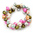10mm Multicoloured Freshwater Pearl Cluster Stretch Bracelet - 20cm L - view 8