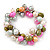 10mm Multicoloured Freshwater Pearl Cluster Stretch Bracelet - 20cm L