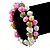 10mm Multicoloured Freshwater Pearl Cluster Stretch Bracelet - 20cm L - view 3