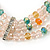 3-Strand Light Pink Glass Bead, White Freshwater Pearl Stretch Bracelet - 19cm L - view 4