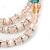 3-Strand Light Pink Glass Bead, White Freshwater Pearl Stretch Bracelet - 19cm L - view 5