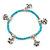 Delicate Turquoise Bead With Elephant Charm Flex Bracelet - 18cm L