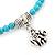 Delicate Turquoise Bead With Elephant Charm Flex Bracelet - 18cm L - view 4