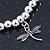 Silver Tone Metal Bead With Dragonfly Charm Flex Bracelet - 18cm L - view 4