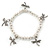 Silver Tone Metal Bead With Dragonfly Charm Flex Bracelet - 18cm L