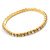 Gold Tone Clear Crystal Delicate One Row Stretch Bracelet - 17cm L - view 2