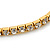 Gold Tone Clear Crystal Delicate One Row Stretch Bracelet - 17cm L - view 3
