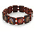 Indian Religious Brown Wood Ganesh & OM Stretch Icon Bracelet - 18cm L - view 2