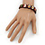 Indian Religious Brown Wood Ganesh & OM Stretch Icon Bracelet - 18cm L - view 4