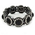 Victorian Style Round Black/ Clear Glass Crystal Flex Bracelet In Black Tone Metal - 19cm L