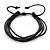 Unisex Black Multi Cotton and Leather Cord Friendship Bracelet - Adjustable
