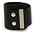 Statement Wide Black Leather Style with Crystal Closure Bracelet - 18cm L