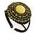 Lime Green/ Bronze Shell Bead, Dome Shape Woven Flex Cuff Bracelet - Adjustable
