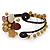 Semiprecious Beaded 'Flower' Flex Bangle Bracelet in Brown/ Cream Tone - Adjustable - view 7